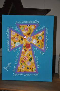 Hand Painted Cross-on canvas with bible verse (Proverbs 3:5-6) going around the cross.