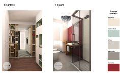 """All'ingresso un comodo armadio a tutt'altezza di colore chiaro denisce lo spazio. L'angolo accoglie una struttura in cartongesso con ripiani e contenitori; la parte """"scavata"""" riprende i colori del soggiorno. Questa composizione permette di inglobare e mascherare il pilastro esistente. Il controsoffitto con illuminazione integrata a faretti bilancia le proporzioni dell'ambiente."""