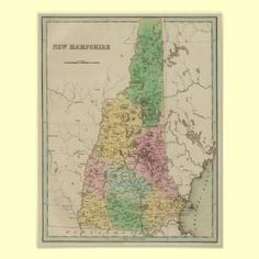map of new Hampshire ~ nh posters and prints ~ this print up to 24x30 but various sizes and framing available!