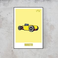 Poster Roadster yellow Hot Rod johnnid print gift idea