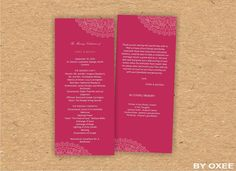 Printable Wedding ceremony program template Raspberry red by Oxee, $7.00