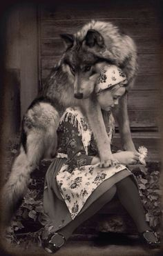 Okay, little old-timey dressed girl and her freakin gorgeous wolf. Regular people should not try to make wolves pets, but sometimes wolves choose to bond with humans, and when they do, that bond should be honored as a sacred trust. Wolf Love, Bad Wolf, Beautiful Creatures, Animals Beautiful, Animals And Pets, Cute Animals, Wild Animals, Baby Animals, Foto Fantasy