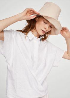 Wrap linen-blend shirt  | MANGO