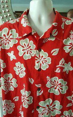 218cd145 Lands End Men Hawaiian Shirt Size XL Red Tan Floral Aloha 17-17 1/2 100%  Cotton