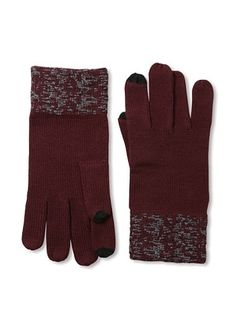 63% OFF Amicale Men's Two-Tone Tech Gloves (Oxblood/Grey)