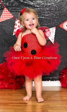 Red and Black Ladybug Wings  Shabby Flower by OnceUponATimeTuTus, $8.99