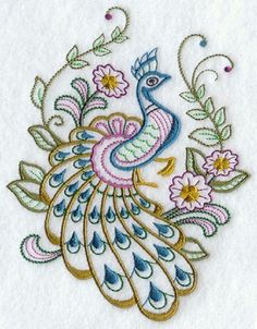 Set of 2 Peacocks stitched embroidered fabric quilt blocks squares RQQ™
