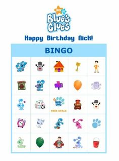 Blues Clues bingo party game