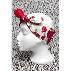 Rockabilly Red Tea Rose Head Scarf