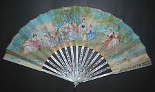 ANTIQUE FRENCH CARVED MOTHER OF PEARL HAND PAINTED PASTORAL SCENE LANDSCAPE FAN