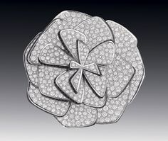"""Ruban de Camélia"" brooch in 18K white gold, diamonds and black spinels"