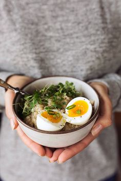 Savory Sprouted Grain Breakfast Porridge with Soft Cooked Egg {Gluten-free} // @tastyyummies // www.tasty-yummies.com
