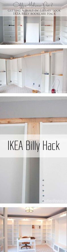 IKEA Hack with built-in Billy bookcases - how we got an expensive built-in library home office look on a budget. How we gave our home office an expensive built-in library look with a Billy IKEA Hack on a budget Billy Ikea Hack, Ikea Billy Bookcase Hack, Billy Bookcases, Bookshelves Ikea, Built In Bookcase, Billy Bookcase Office, Billy Bookcase With Doors, Ikea Expedit, Libreria Billy Ikea