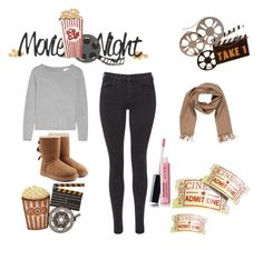 """comfy yet cute movie night outfit"" by miss-glass-rose ❤ liked on Polyvore featuring Dot & Bo, Maison Scotch, UGG, Bally and Avon"