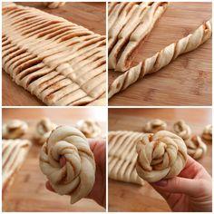"""Tyto úžasné voňavé rolky, v originále nazývané """"kanelknuter"""" neboli """"skořicové uzlíky"""", pocházejí se Švédska. Existují Bread Recipes, Cooking Recipes, Easy Cooking, No Rise Bread, Czech Recipes, Baking Tips, Sweet Bread, Food Hacks, Good Food"""