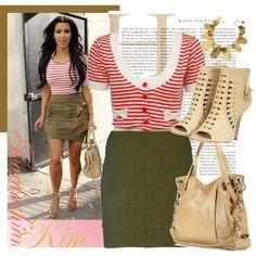 """Street Style: Kim Kardashian"" by mrsbeamer on Polyvore"