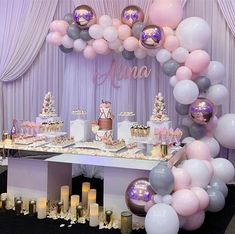 Trendy Party Table Set Up Sweet 16 Ideas Cake Table Birthday, Elegant Birthday Cakes, Baby Girl Shower Themes, Girl Baby Shower Decorations, Deco Ballon, Lavender Baby Showers, Sweet 16 Decorations, Birthday Balloon Decorations, Table Set Up