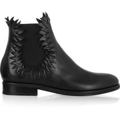Alaïa Flame-detailed leather ankle boots (8.800 HRK) ❤ liked on Polyvore featuring shoes, boots, ankle booties, black, black boots, leather booties, leather boots, black leather ankle booties and short boots