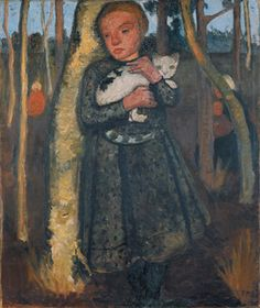 Paula Modersohn-Becker, 'Mädchen im Birkenwald mit Katze (Girl in a Birch Wood with a Cat),' 1904, Louisiana Museum of Modern Art