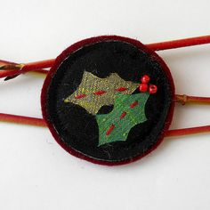 Christmas Holly Fabric Brooch   red  green and black by audreyscat, £4.50