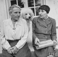 Author Gertrude Stein sitting with Alice B. Toklas at a villa. France, 1944.