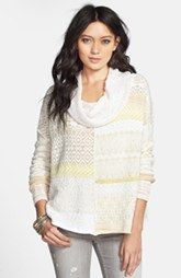 Free People Cowl Neck Patchwork Sweater