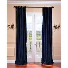 Half Price Drapes Ruched Navy Blue 96 X 50 Inch Faux Silk Taffeta Curtain Single Panel Ptch 194010 96 Ru Blue Velvet Curtains, Silk Curtains, Black Curtains, Panel Curtains, Drapery, Curtain Panels, Window Panels, Window Screens, Floral Curtains