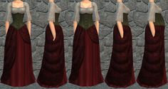 These are various morphs of the Red Riding Hood II costume.  They show, fit, fat, and pregnant.  http://www.medievalsims.com/forums/viewtopic.php?f=225&t=4737&hilit=Once+Upon+a+Time