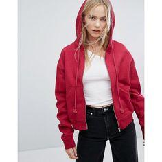 Weekday Zip Through Hoodie (€35) ❤ liked on Polyvore featuring tops, hoodies, pink, slim fit hoodie, zip hoodie, cotton hoodie, hooded zipper sweatshirts and zipper hoodies