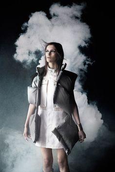 Smoke organza dress with down vest AW 13 Photo: Julia Hetta Styling: Naomi Itkes Model: Fia L, Stockholmsgruppen