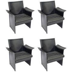 For Sale On   Set Of Four Italian Black Leather Armchairs Manufactured By Matteo  Grassi. These U0027Koriumu0027 Chairs Were Designed By Tito Agnoli And Are ...
