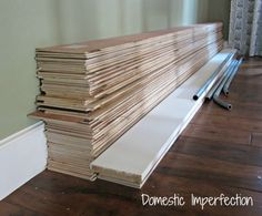 Love the plank walls.plywood strips for plank wall