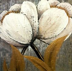 Original Textured Flower Abstract Contemporary by YueJinArt: