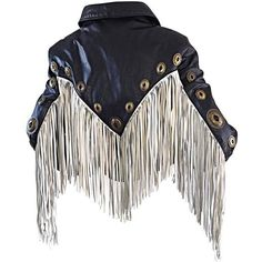 Preowned Amazing Vintage Black And White Leather Fringe Biker Western... ($750) ❤ liked on Polyvore featuring outerwear, jackets, white, leather jackets, genuine leather jackets, western leather jackets, leather biker jacket and real leather jackets