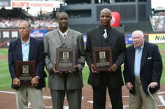 Darryl Strawberry, Davey Johnson, Dwight Gooden, Frank Cashen  Mets Hall of Fame inductees (L-R) Davey Johnson, Dwight Gooden, Darryl Strawberry and Frank Cashen pose for photographers prior to the game between the Arizona Diamondbacks and the New York Mets at Citi Field on August 1, 2010 in the Flushing neighborhood of the Queens borough of New York City.