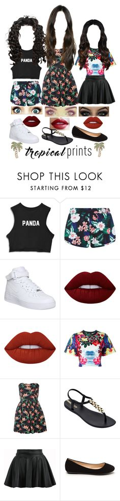 """""""Contest #23"""" by the-styles101 ❤ liked on Polyvore featuring New Look, NIKE, Lime Crime, Dsquared2, IPANEMA, Kate Spade, tropicalprints and hottropics"""