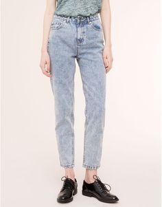 Pull&Bear - damen - denim collection - hoch sitzende mom-jeans - hellblau - 05682330-V2016