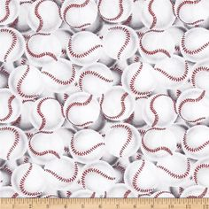 Game On Packed Baseballs Cream/Black/Red from @fabricdotcom  This cotton print fabric is perfect for quilting, apparel and home decor accents. Colors include black, off white, red and grey.