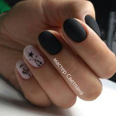 Маникюр ночь Classy Nails, Stylish Nails, Classy Nail Designs, Nail Art Designs, Short Nails Art, Star Nails, Fall Nail Art, Manicure, Make Up
