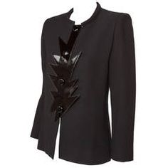Pierre Cardin Haute Couture Wool Crepe Jacket w/Futuristic Vinyl Trim ca.1990