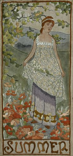 Arts & Crafts silk embroidery, Summer, The Four Seasons