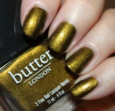 Butter London Wallis - Named for Wallis Simpson, this is a metallic olive green color with intense gold shimmer.