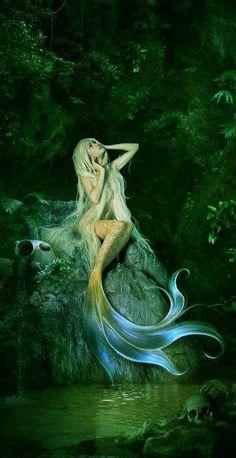 "A beautiful blue hair mermaid dives into a relaxing green sea. Fantasy art painting, ""Diving Mermaid"" by Sue Halstenberg. Fantasy Mermaids, Real Mermaids, Mermaids And Mermen, Images Of Mermaids, Mako Mermaids Tails, Mermaid Cave, Mermaid Fairy, Mermaid On Rock, Mermaid Lagoon"