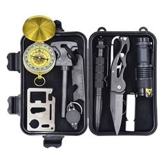 10-in-1 Emergency Survival Gear Kit - $23.98 - Be prepared for the unthinkable with this 10 in 1 emergency gear kit. The kit is a must have for outdoor enthusiasts and features a fire starter, compass, emergency whistle, survival knife, etc. Additionally All the included tools are contained in a waterproof case.