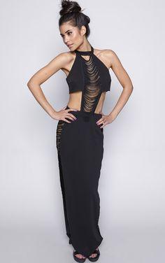 Elle Black Cut Out Fringed Maxi Dress - Dresses - Colourflux - PrettyLittleThing | PrettyLittleThing.com
