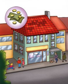 La ciudad, tiupos de edificios, tipos de casas, elementos de la calle Pictures, Mesto, Writing, School, To Tell, Public Service, Social Studies, Clouds, Composition