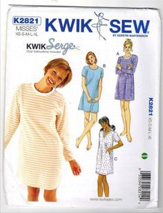a8d29e27fd1 Kwik Sew Sewing Pattern 2821 Misses Sizes XS-XL (approx Knit Nightshirt  Nightgown Nighty