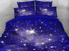 Twinkling Stars and Galaxy Printed Cotton Purple Bedding Sets/Duvet Covers