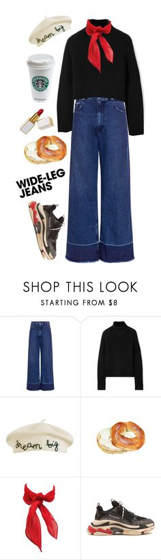 """""""Flare Up: Wide-Leg Jeans"""" by thefashionaccounts ❤ liked on Polyvore featuring Rachel Comey, Burberry, Cynthia Rowley, Balenciaga, denimtrend and widelegjeans"""