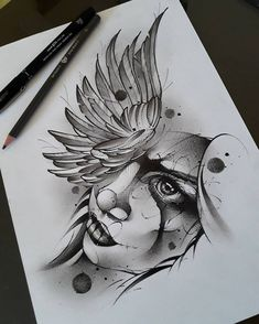 Desenho de rosto com asas. #desenho #drawing #rosto #asas #art #arte #pretoebranco